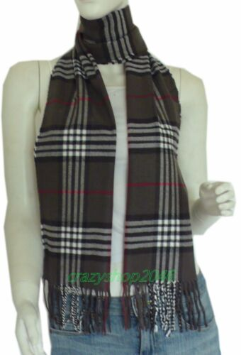 DkGrey Plaid Soft 100/% Cashmere Classic Plaid Tassel Ends Long Scarf