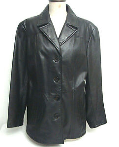 e9cd5efb7 Details about Wilsons Leather Women's Black Leather Jacket 4 Buttons Soft  (Size L)