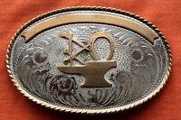 Vtg Comstock Cowboy Cowgirl Horseshoe Sterling Silver Western Belt Buckle