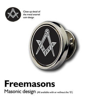 Masonic Freemason BLACK Shiny Silver LAPEL PIN BADGE, Raised enamel Motif +Pouch