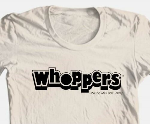 Whoppers T-shirt retro candy food funny 100/% cotton graphic printed tee vintage