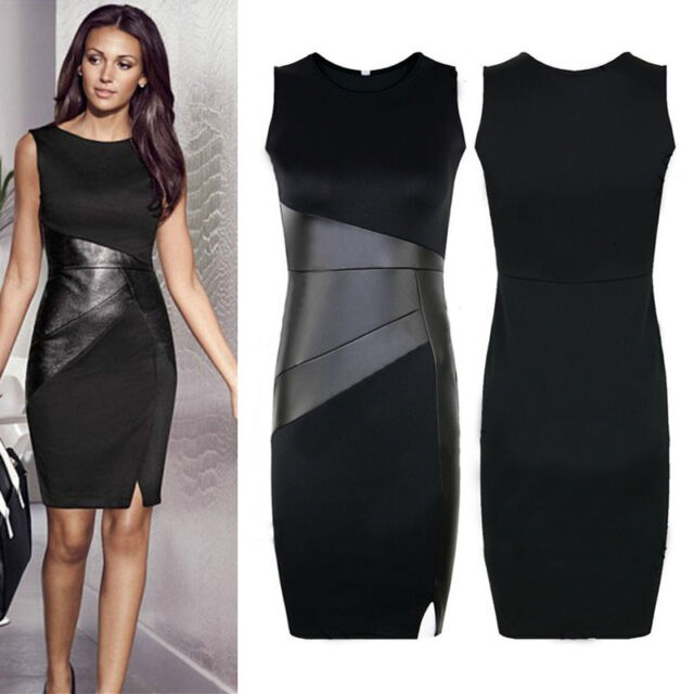 Women Slim Business Formal Patchwork Casual Cocktail Party Pencil Bodycon Dress