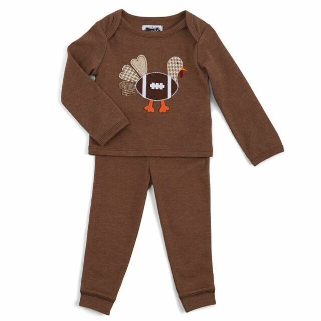 NWT Mud Pie Football Turkey Applique Baby Boys Thanksgiving Outfit 0-6 6-9 9-12