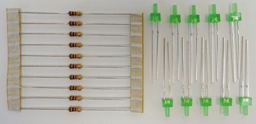 10x Tower LED 2mm Grün mit Widerstand für 9V 12V 14V 16V 24V wählbar C2753