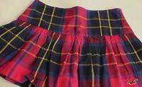 Hollister Junior Plaid Mini Skirt Size 5 Pleated Side Zip Pink Navy Schoolgirl