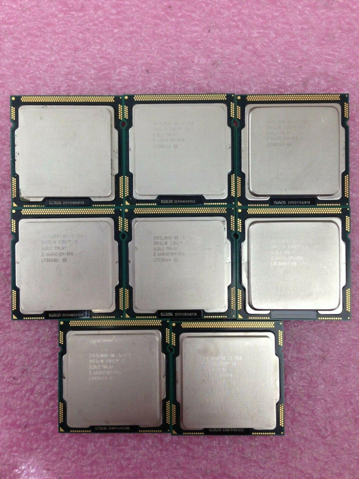(Lot of 8) Intel i5-750 2.66GHz Quad-Core CPU Processor SLBLC LGA1156 - CPU348