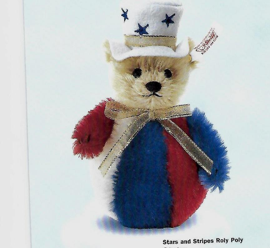 STEIFF  STARS AND STRIPES ROLY POLY  EAN 667459 rot Weiß Blau AND BLOND MOHAIR