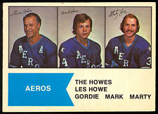 1974 75 OPC O PEE CHEE WHA #1 GORDIE MARK MARTY HOWE EX-NM HOUSTON AEROS HOCKEY