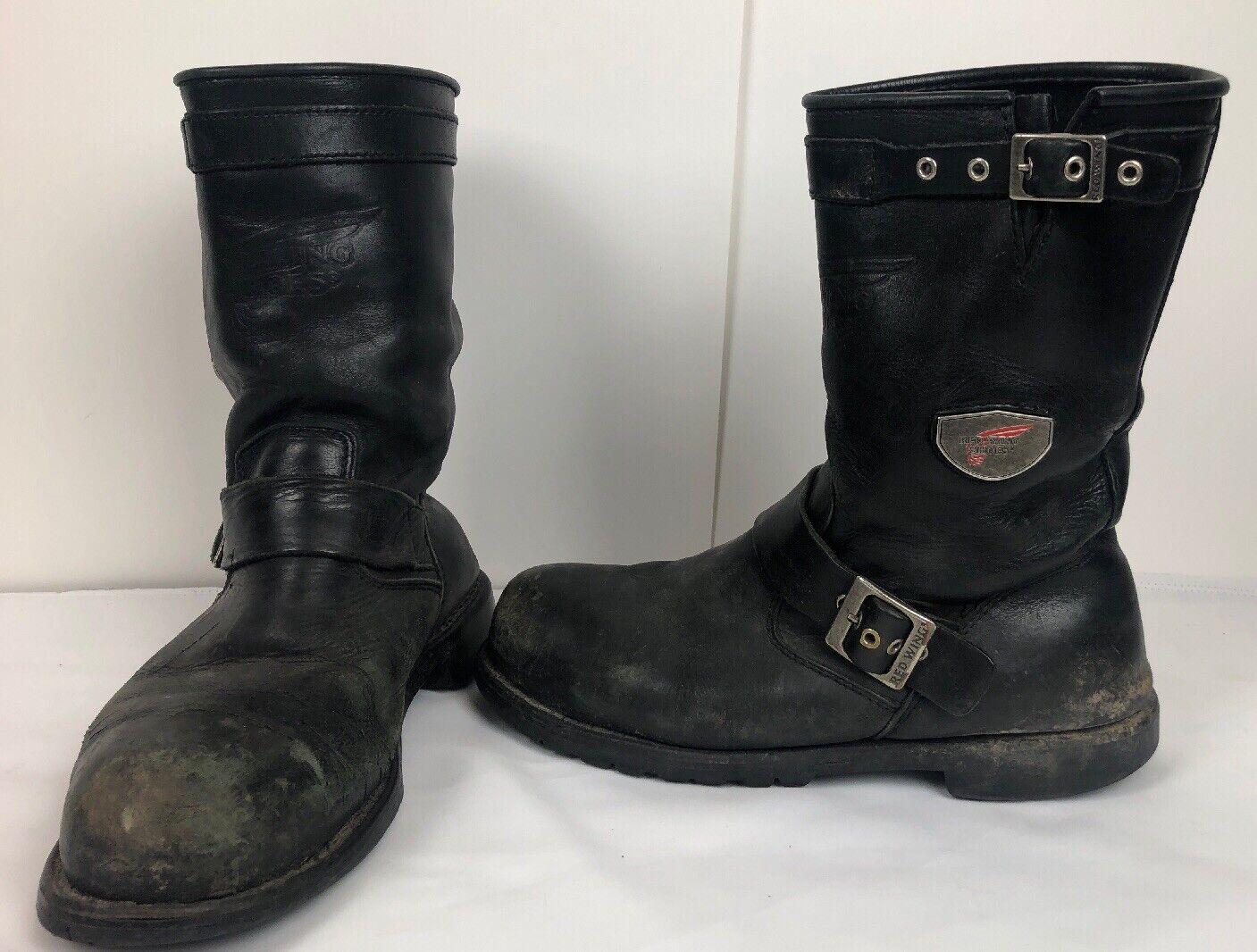 rojo Wing para hombres 8.5 Arnés De Motocicleta botas Puntera De Acero Negro Cuero Envejecido