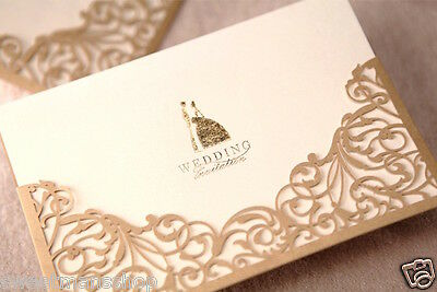 DIY Gold Laser Cut Vintage Wedding Invitation Cards