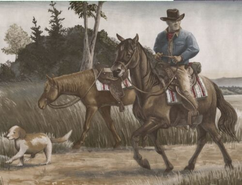 Blue Mountain Borders Cowboy /& Pack Horses Wallpaper Border ONLY $6 567