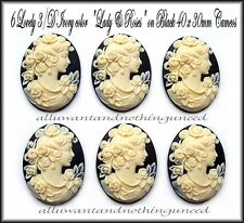6 IVORY color BUTTERFLY ROSE GODDESS on BLACK Costume Jewelry 40mm x 30mm CAMEOS