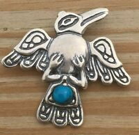 Raven Pendant .925 Sterling Silver - Natural Turquoise Tribal Northwest Crow