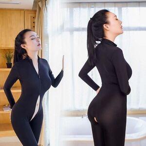 Women-Sheer-Bodysuit-Double-Zipper-Long-Sleeve-Open-Crotch-Bust-Shiny-Jumpsuit-t