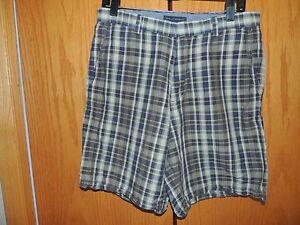 Men-039-s-Banana-Republic-Green-Plaid-Shorts-Size-32