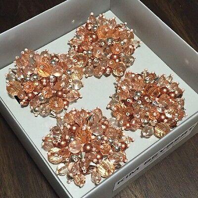 Kim Seybert 4 Beaded Napkin Rings Ring Holder SPRING/ SUMMER  POMS NIB