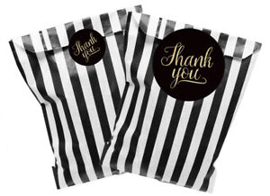Black Gold Thank You Stickers With Black Striped Paper Bags 2 Sizes X 24 Ebay