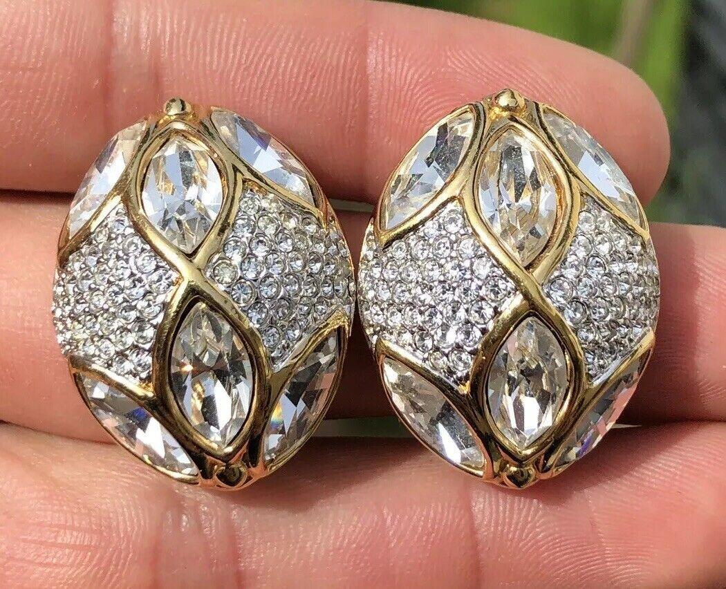 Genuine Vintage Swan Signed SWAROVSKI gold Tone Clip Earrings