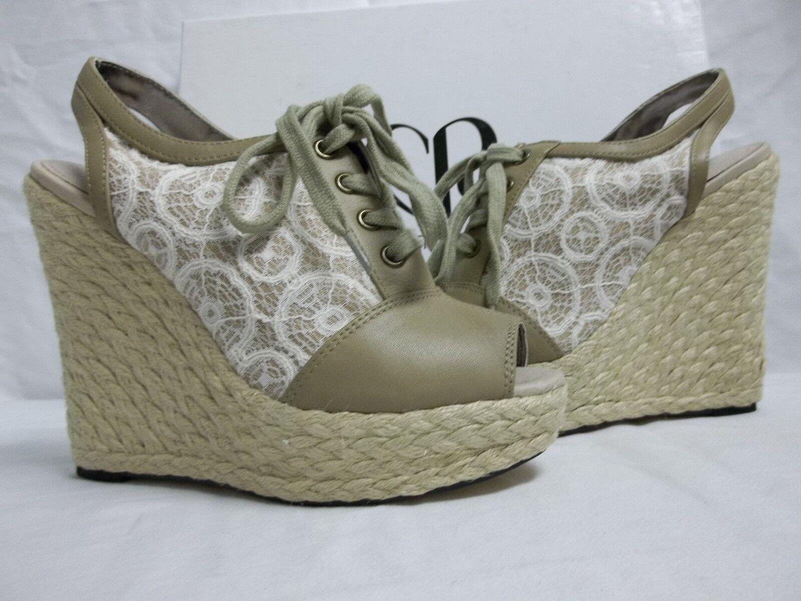 Charlotte Ronson Größe 7.5 M Hazel Taupe Ivory Open Toe Wedges NEU Damenschuhe Schuhes