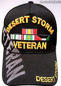 d3aface5c5c DESERT STORM VETERAN Cap   Hat w Shadow Black New U.S. Military ...