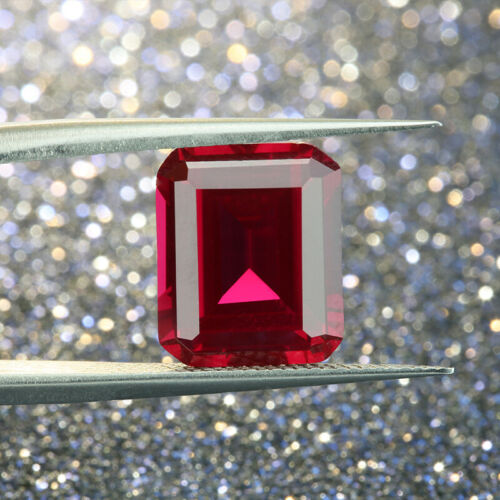 Details about  /Synthetic ruby loose stone 5# red color Corundum stone Emerald cut