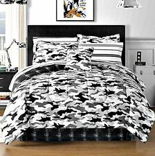 Black Gray Camouflage Camo Army Boys Twin Comforter Set (6 Piece Bed In A Bag)