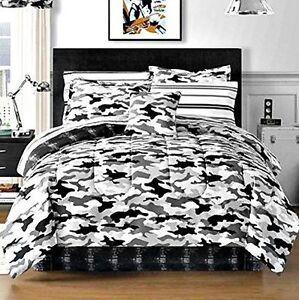 Black Gray Camouflage Camo Army Boys Queen Comforter Set