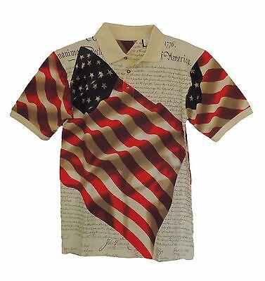 Cotton Traders American Flag Declaration Short Sleeve Polo Shirt mens XXXL nwt