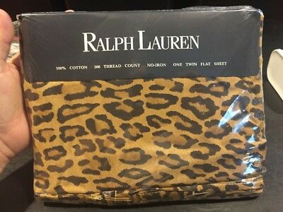 New Rare Vintage Ralph Lauren Leopard Aragon Flat Sheet