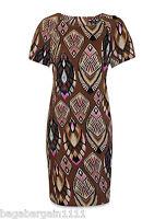 NEW LADIES RETRO IVORY BROWN PINK WHITE BLACK SHIFT DRESS VINTAGE SUMMER TUNIC