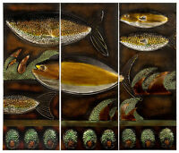 Metal Wall Art Fish Scene (3 Panels) Yellow And Green - Mpn 8541