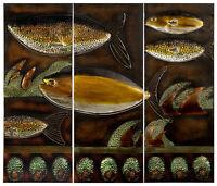 Metal Wall Art Fish Scene (3 Panels) Yellow And Green - Mpn 8541
