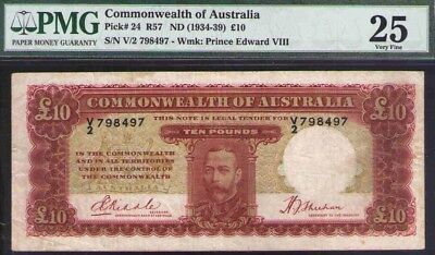 Pmg Certified Vf25 Renniks R57 Rr Paper Money: World Amicable 1934 £10 Pounds Kgv Commonwealth Of Australia Australia & Oceania