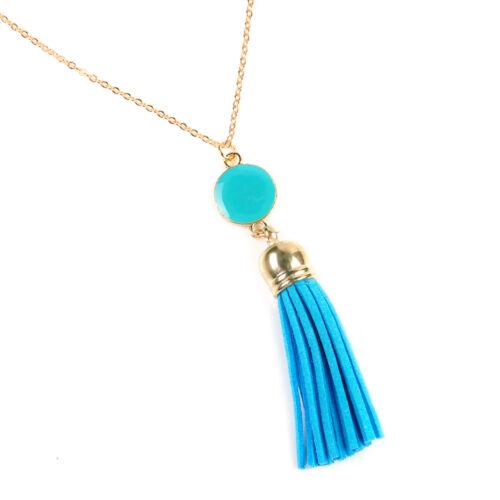 Boho Beaded Tassels Crystal Pendant Necklace Long Chain Sweater Women Jewelry