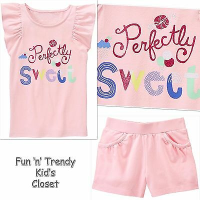 NWT Gymboree Girls Size 10 12 Flamingo Tee Shirt Top /& Shorts 2-PC OUTFIT SET