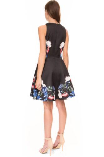 Keepsake The Other Side Mini Dress Black skater Floral Print Scalloped Wedding