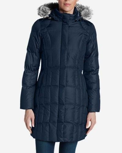 NEW bluee Eddie Bauer Bauer Bauer lodge Down parka Coat removable fur trimmed hood XS Xsmall 20d212