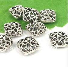 Free Shipping 5Pcs Tibetan Silver Square Hollow Ball Spacer Beads 14.5x8mm