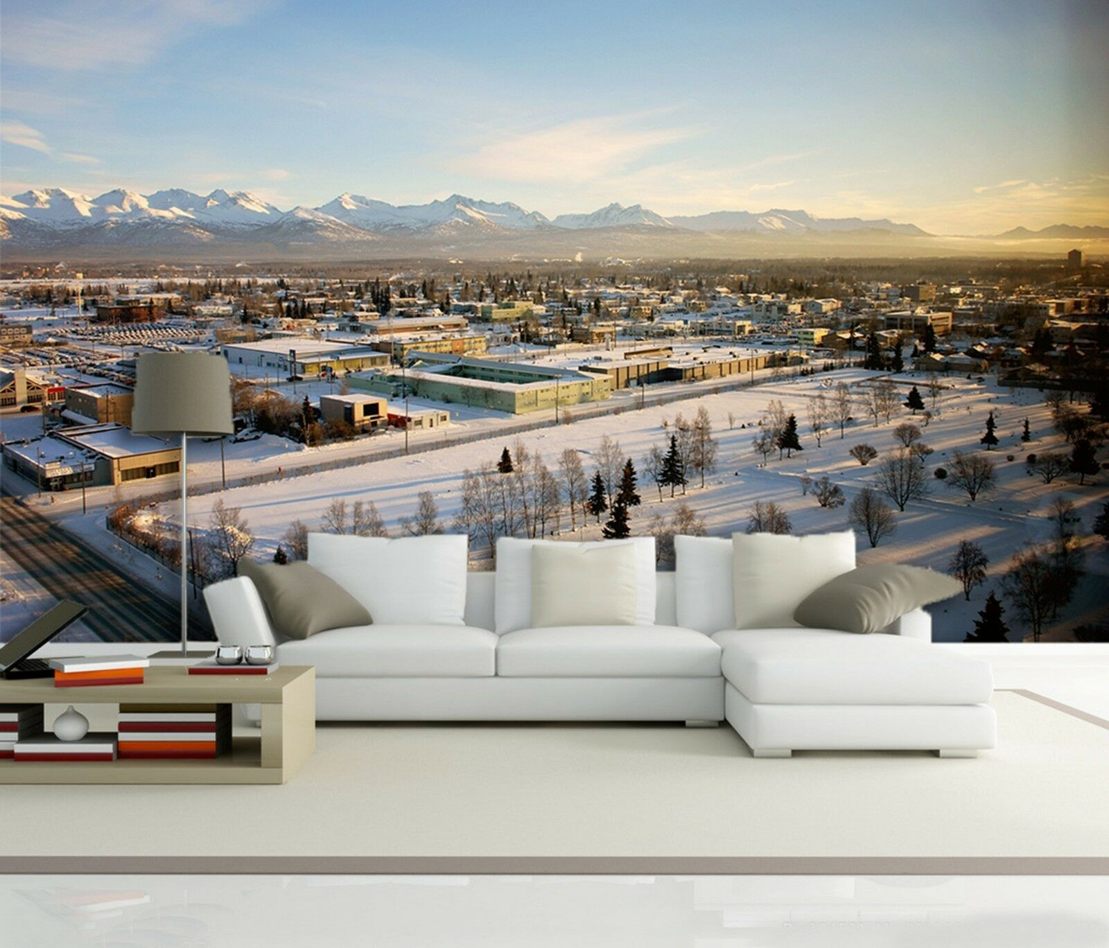 3D Snow street city Wall Paper Print Decal Wall Deco Indoor wall Mural