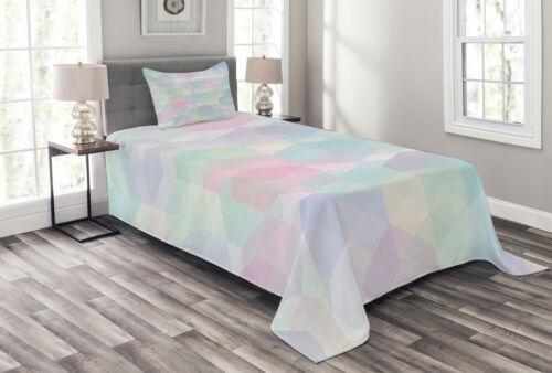 Artistic Hexagonal Soft Print Details about  /Pastel Quilted Bedspread /& Pillow Shams Set