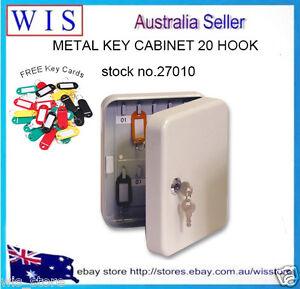 Wall Key Cabinet Safe Case Box 20 Key Tags Metal Storage Locking Security Case
