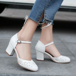 af9ba1f16f Women's Block Heel Ankle Strap Hollow Round Toe Shoes Pumps Mary ...