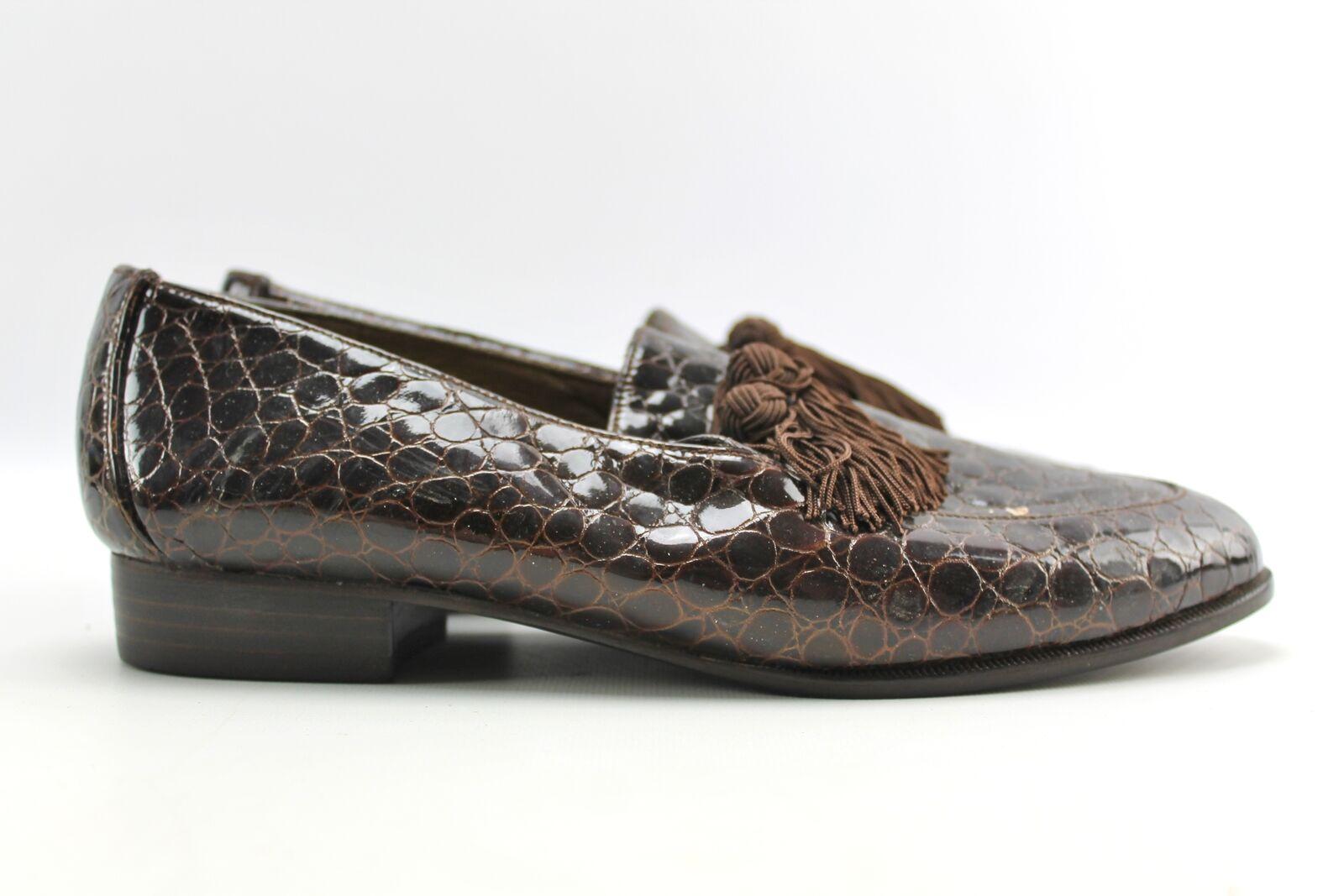 Stuart Weitzuomo Marronee Patent Croc Embossed Tassel Smore Loafer Flats sautope 7.5