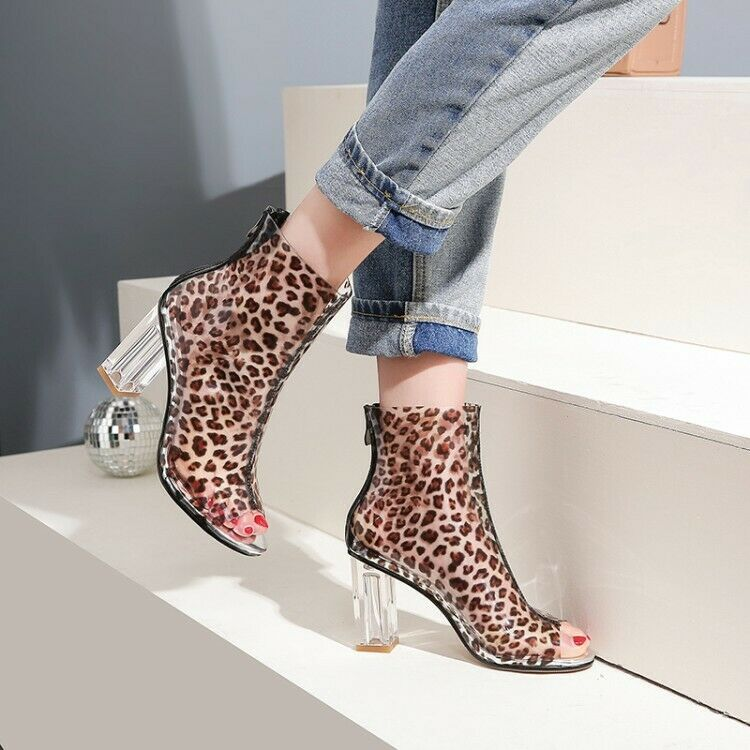 2019 SEXY Women Ankle Ankle Ankle Boots Peep Toe Clear Chunk Heel Boots Leopard shoes Woman 6296c6