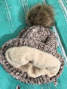 ec2719ef6b4 Details about ⭐ MACY S ⭐ Woman Brown Ivory Sherpa Lined Puff Ball Pom Pom Winter  Beanie Hat