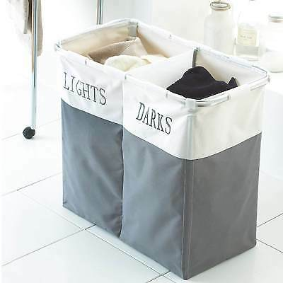 FOLDING LAUNDRY CLOTHES WASHING STORAGE HAMPER BAG BASKET DARK & LIGHT 2 SECTION