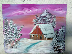 Original-Acrylic-Painting-8-x-10-Canvas-Panel-Winter-Cold-Wall-Art-Decor