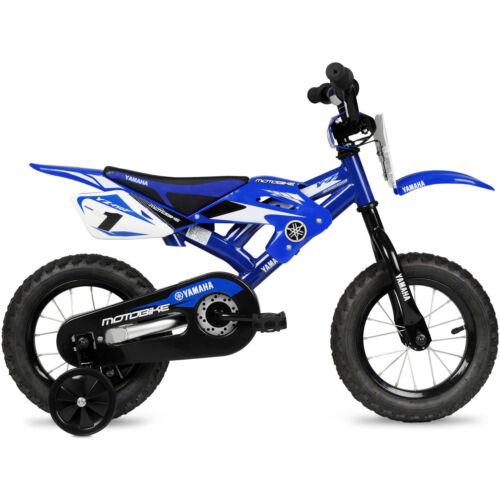 "Boys Kids Bike Yamaha Moto Childs BMX 12/"" Blue 2-4 wheels Children Bicycle Steel"