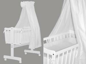 wiege schaukelwiege pendelwiege babywiege kinderwiege weiss neu ebay. Black Bedroom Furniture Sets. Home Design Ideas