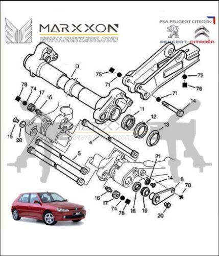 Sello añadido Eje Trasero HAZ Kit De Reparación Para Peugeot 205 GTI 306 309 Citroen Xsara